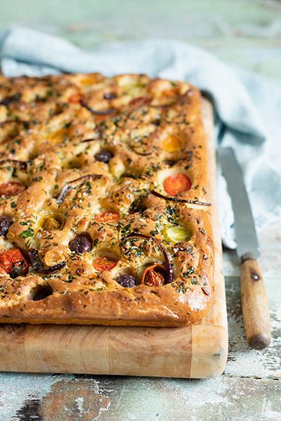 Tomato, Olive and Basil Pesto Focaccia