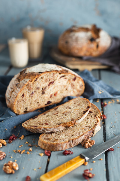 No-Knead Coffee, Cranberry and Walnut Country Loaf
