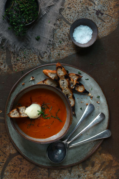 Creamy Red Pepper and Brie Soup