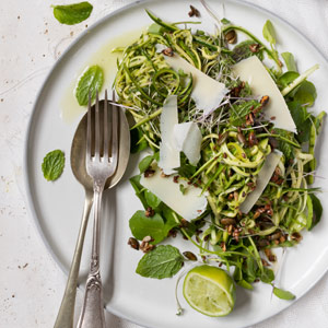 Mint, lemon and olive oil marinated zucchini salad