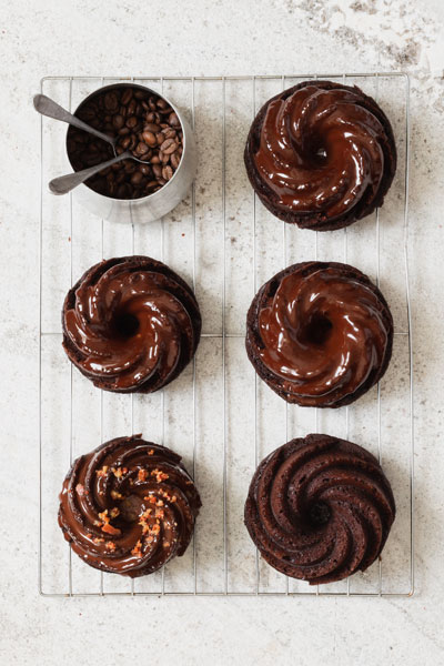 Coffee Bundt Cakes with Ganache and Bacon Crumble
