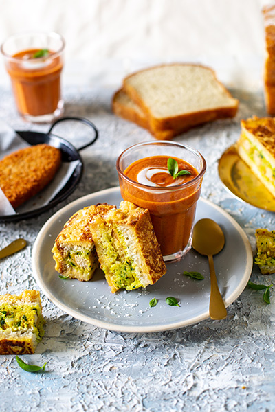 Bread Pakora with Curried Tomato Soup
