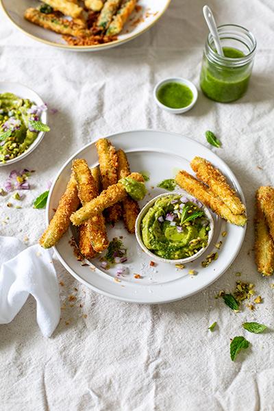 Zucchini Fries with Biltong Guacamole