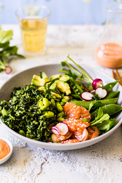 salmon and spinach Poke Bowl
