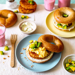 Fish and Avocado Bagel Breakfast