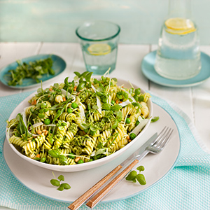 Basil Pesto, Pea, Pine Nut and Pecorino Pasta Salad