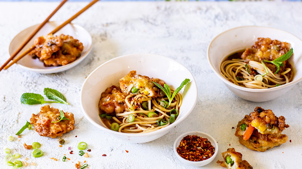 Asian Noodle Broth with Tempura Vegetable Cakes