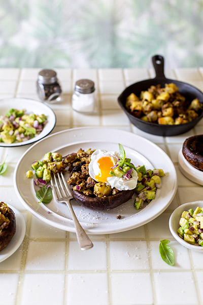 Breakfast Mushrooms with Mince Hash