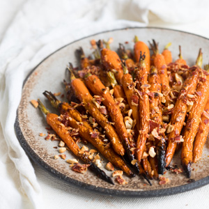 Honey and Chilli Roasted Carrots with Bacon and Cashews