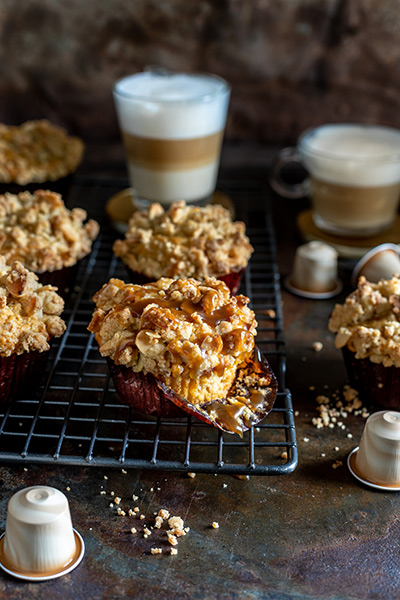 White Chocolate Muffins with Almond Streusel and Coffee Caramel