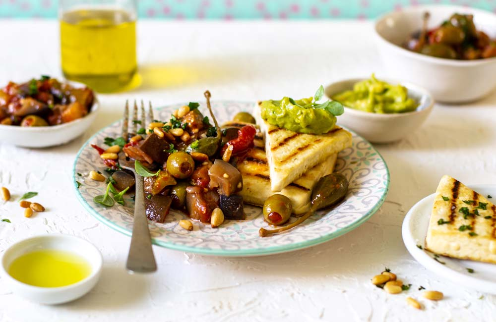Vegan Caponata with Grilled Tofu Steaks and westfalia Spicy Guacamole recipe with westfalia lemon-flavoured avocado oil