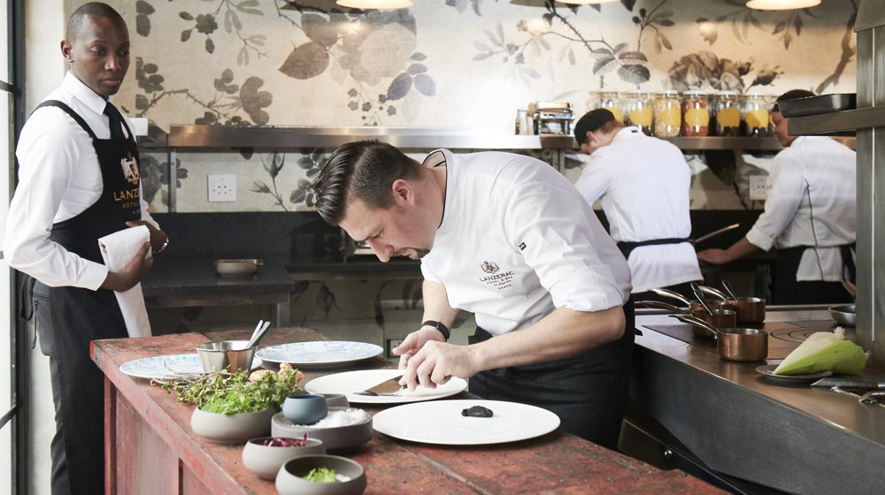 executive chef, Stephen Fraser at Lanzerac, plating