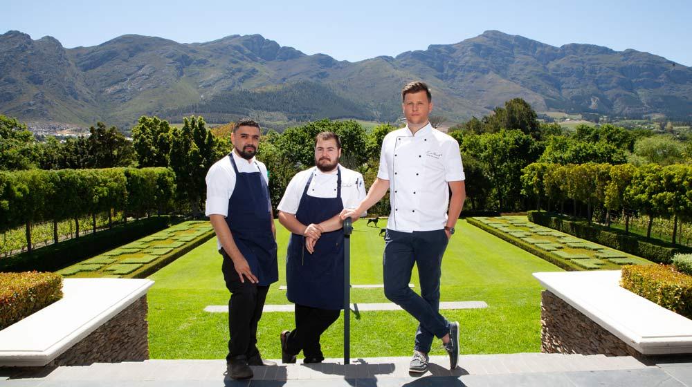 Le chêne at Leeu Estates Chefs from left - Terence Morris, Darren Badenhorst & Oelof Voster