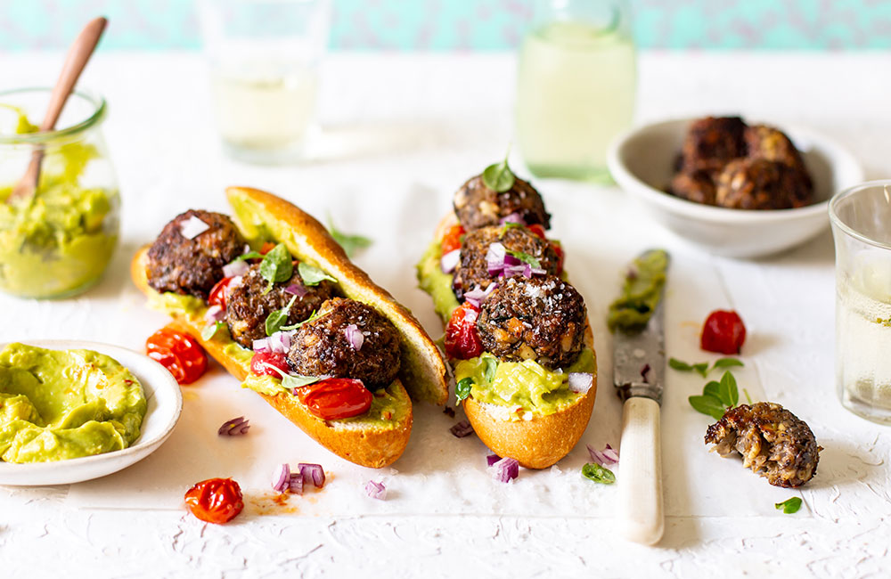 Vegan Meatball Sub recipe with westfalia spicy guacamole and westfalia plain avocado oil