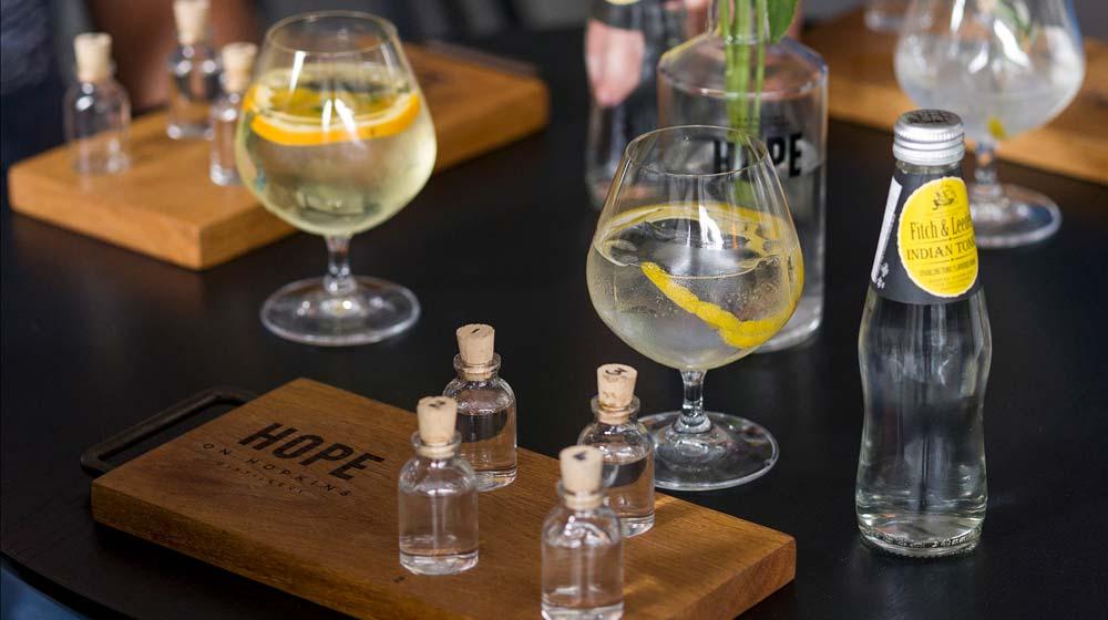 Hope's Immersive Tasting Room Gin tasting