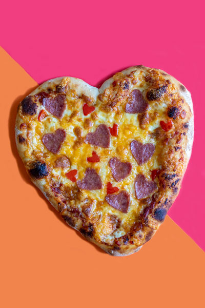 Cheesy Valentine's Day Heart Pizza with a No-Knead Dough Base