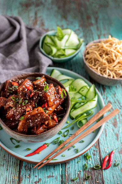 Sticky Asian Pork with Egg Noodles