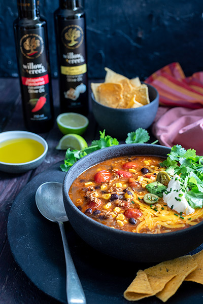 tex mex soup using extra virgin olive oil