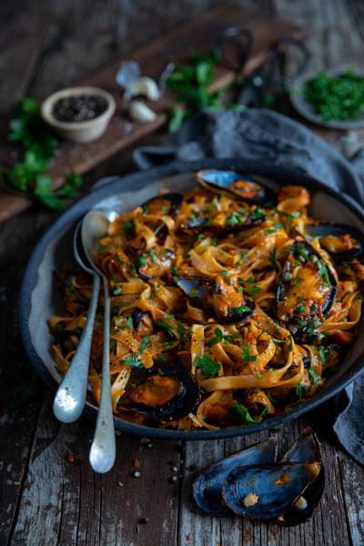 Roasted Red Pepper & Mussel Tagliatelle