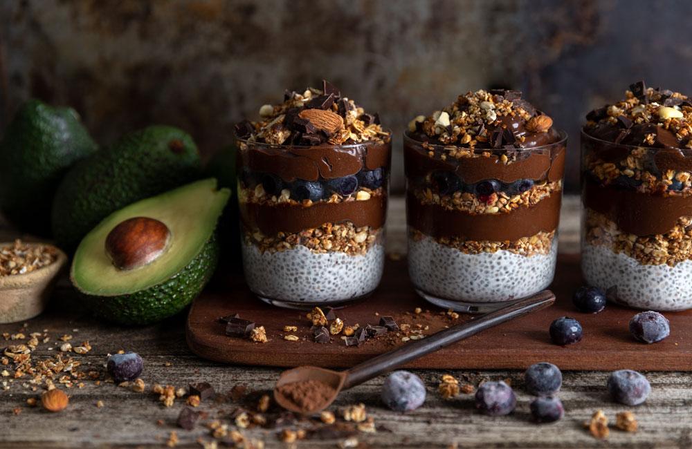 chocolate avocado chia pots