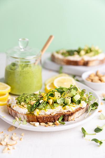 Lemon & Rocket Pesto Tartines with Avocado & Asparagus