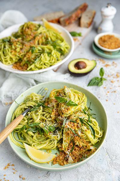 Avocado Linguine with Parmesan Pangrattato