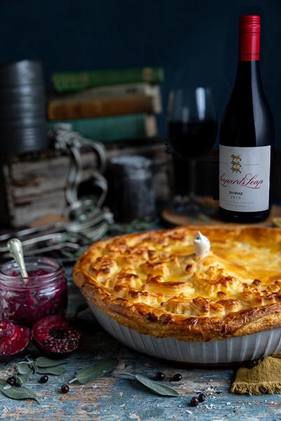 Venison Pie with Sour Cream Pastry and Plum Fruit Paté