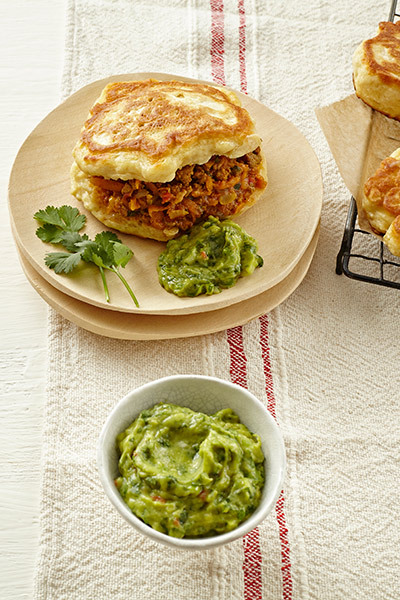 Buttermilk Vetkoek with Curried Mince & Guacamole