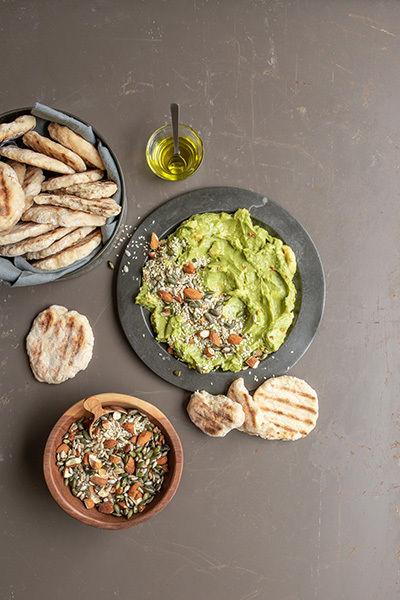Spicy Guacamole with Rustic Flatbreads