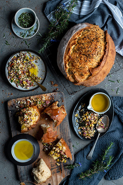 Olive Oil & Herb Crusted Loaf with Chunky Olive & Feta Dip
